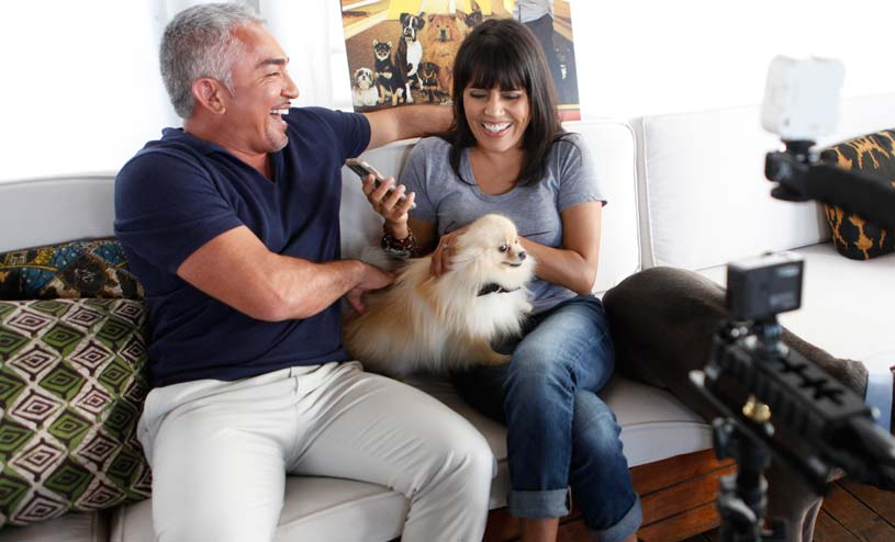 On set with Cesar Millan and Mar Yvette