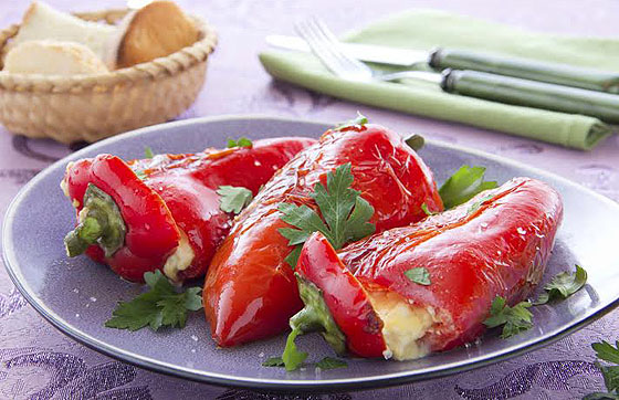 Roasted cheese-stuffed peppers