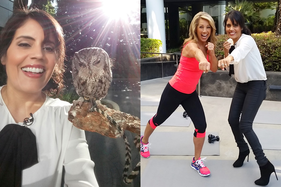 Hanging with Zeus the Owl & Denise Austin