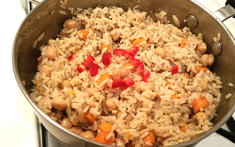 Delicious rice with Farm Fresh To You carrots and red pepper