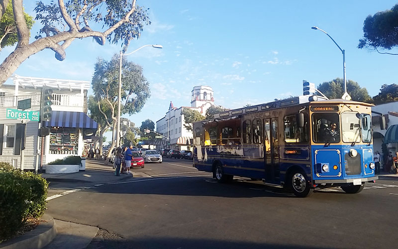 Trolley time in Downtown Laguna