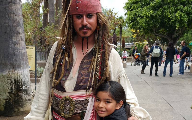 It's Captain Jack Sparrow, one of the friendly characters at Boo at the LA Zoo