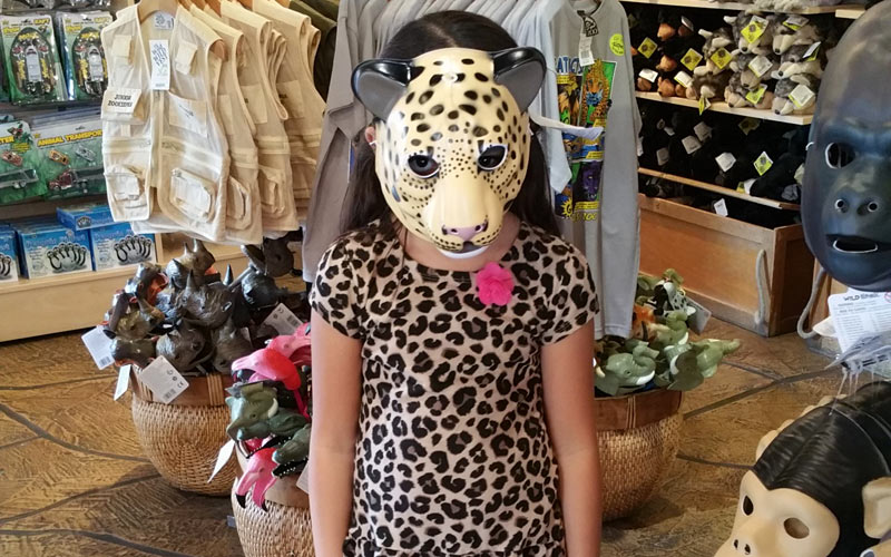 Guess who? Checking out the Halloween masks at the LA Zoo