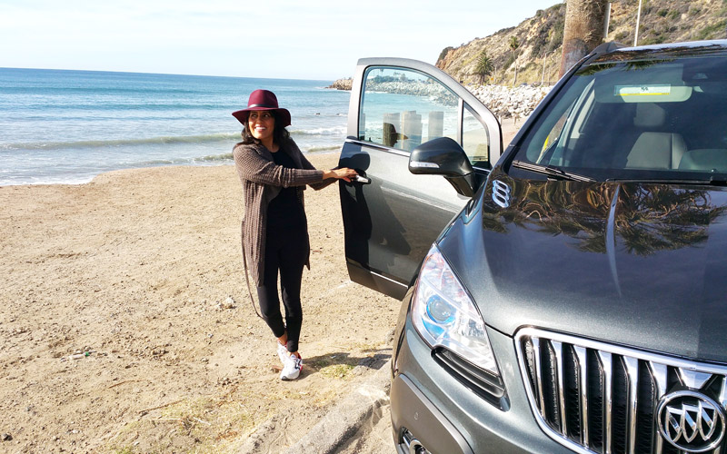 Getting centered at the beach in a Buick Encore