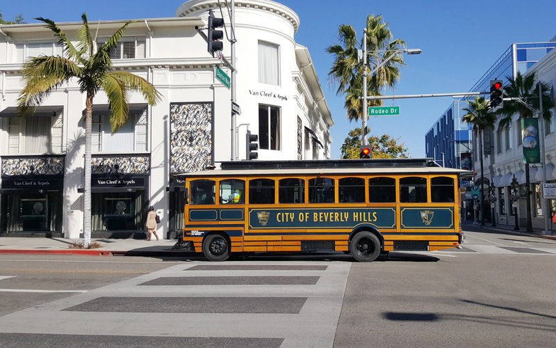 All aboard the Jolly Trolley in Beverly Hills