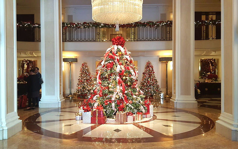 The lovely lobby Christmas Tree at the Beverly Wilshire