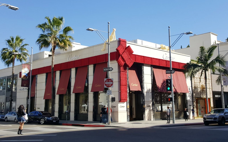 Cartier on Rodeo Drive, all wrapped up for the holidays