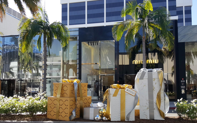 #OnlyOnRodeo gift box displays in front of Miu Miu