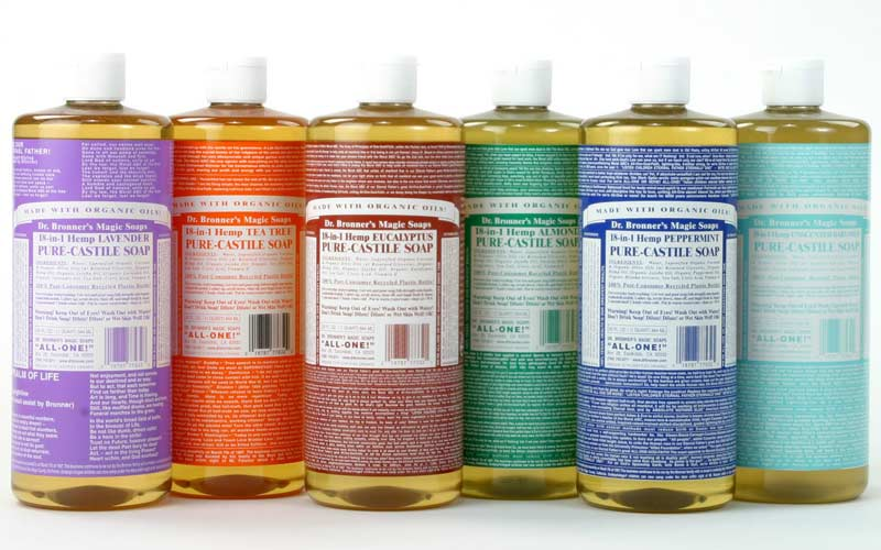 Dr Bronners liquid soaps