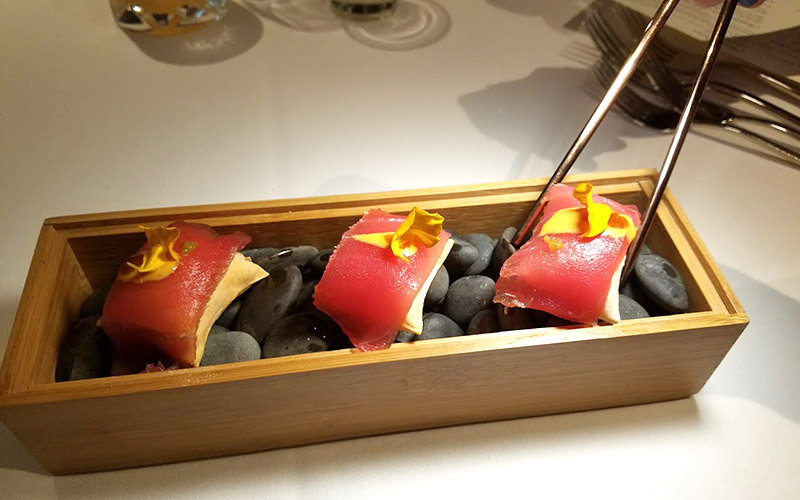 Crustacean tuna uni air bread
