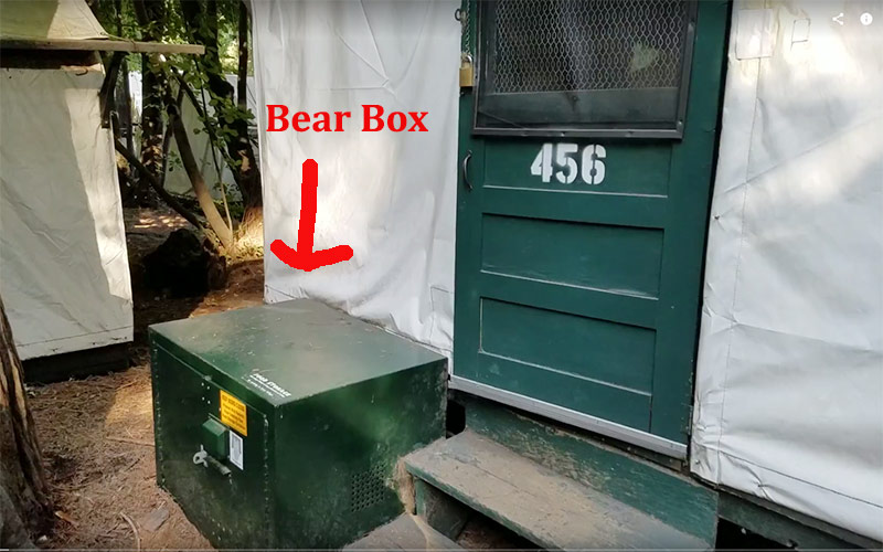 The bear box at Half Dome Village canvas tents
