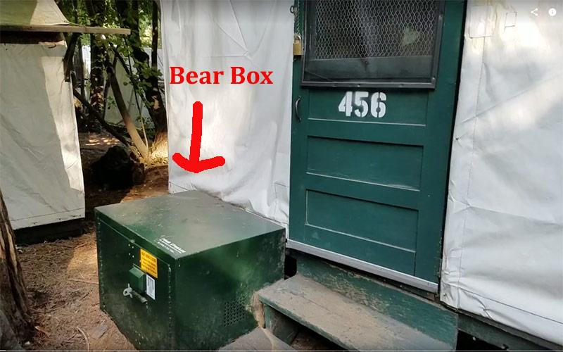 The bear box at Half Dome Village canvas tents