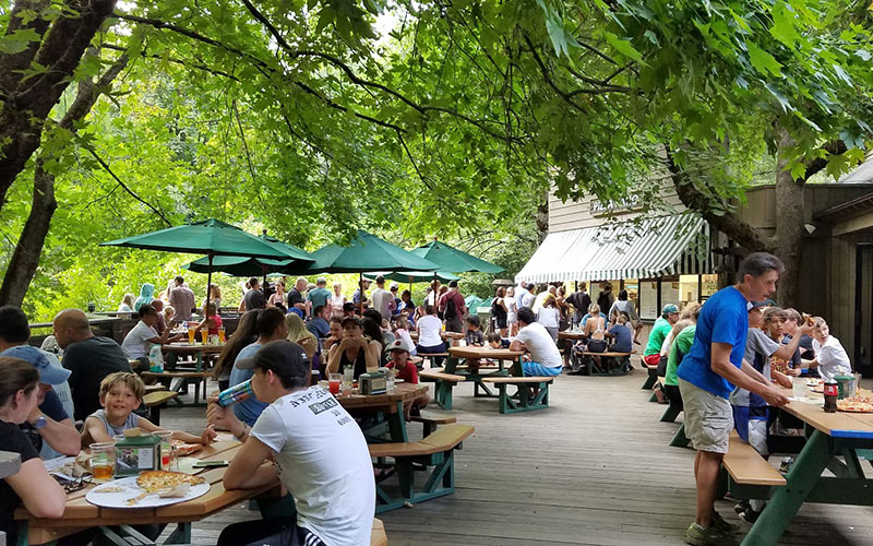The outdoor food court at Half Dome Village - we constantly smelled pizza but couldn't have any!