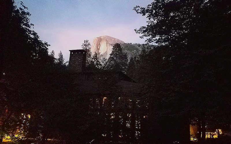 Pack a flashlight to walk at night in Half Dome Village