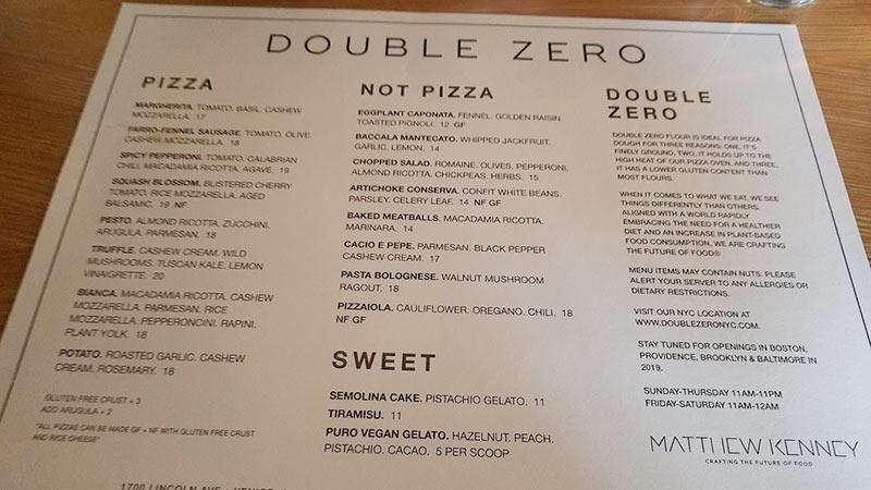 Double Zero Venice menu