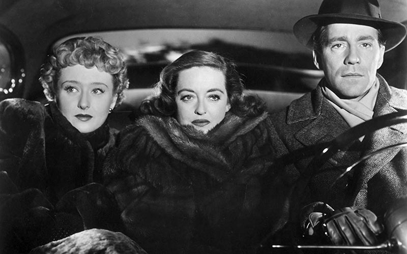 "Bette Davis with her ""All About Eve"" co-stars Celeste Holm and Hugh Marlowe (1950)"